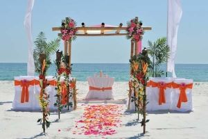 Day Weddings Beach Arbor Flowers Orange And Pink Wedding