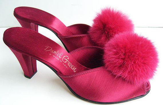 Vintage Daniel Green Silk Satin Womens Slipper Shoe by MazzaLuca,Well Hello Tiny slippers! I want u bad!