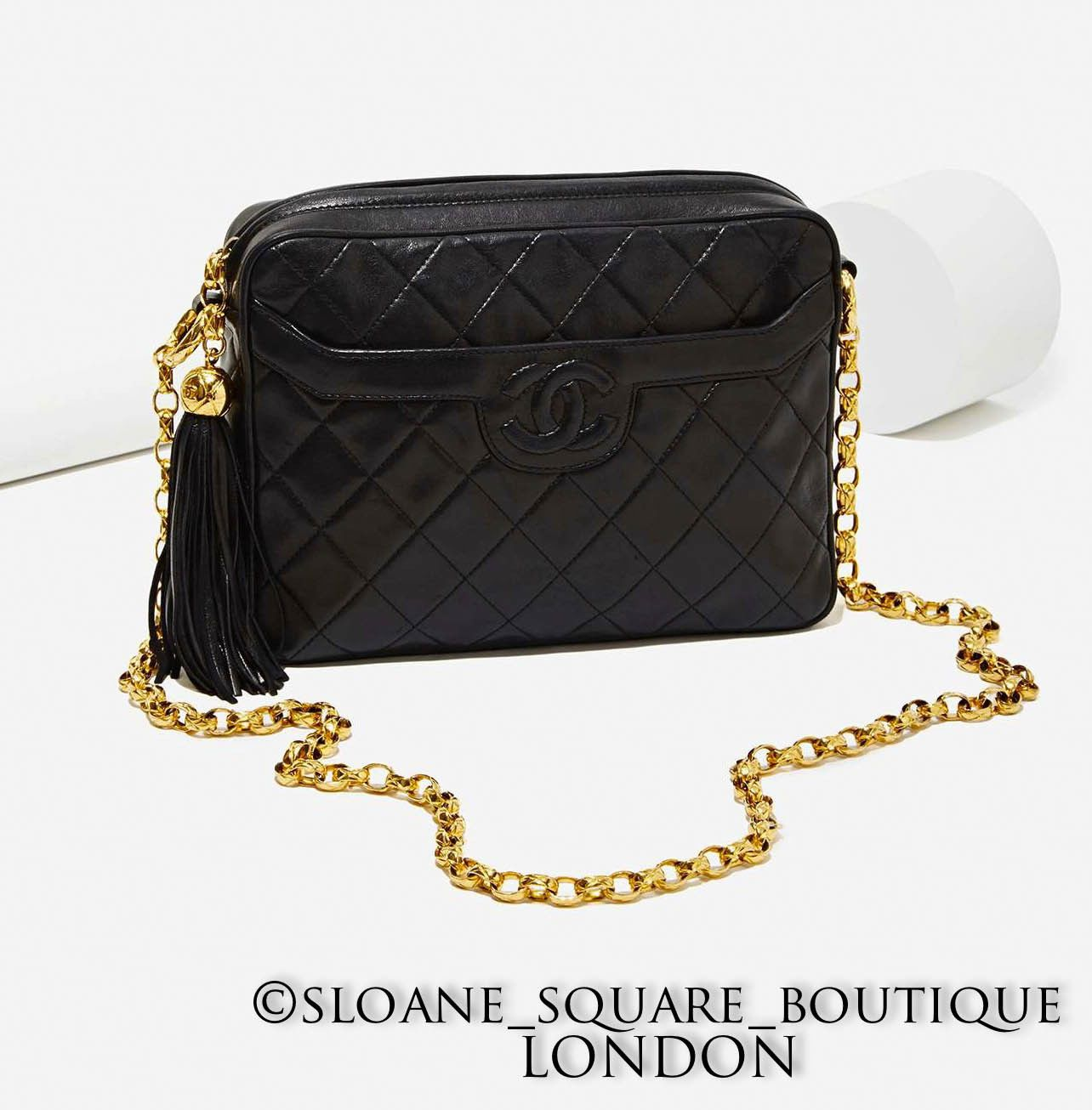 b2e9f42fa1fb CHANEL Vintage Tassel Quilted Camera Bag in Black Lambskin Leather GHW  HARRODS | eBay