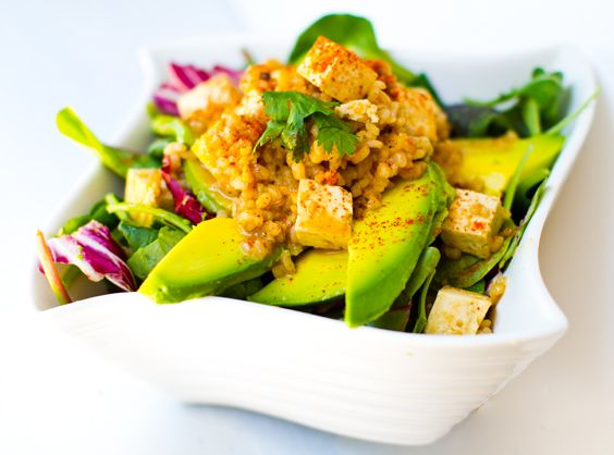 Spicy Peanut Tofu Rice Salad + Twirl of Avocado - Healthy. Happy. Life.