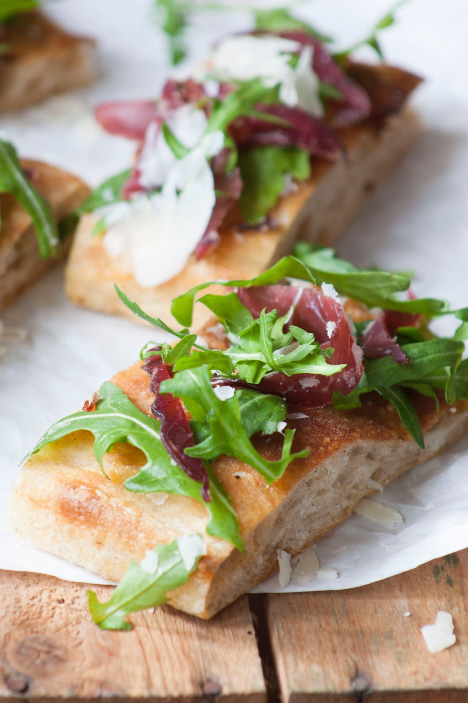 Bresaola (dried beef), Parmesan and rucola. Authentic Italian flavour!