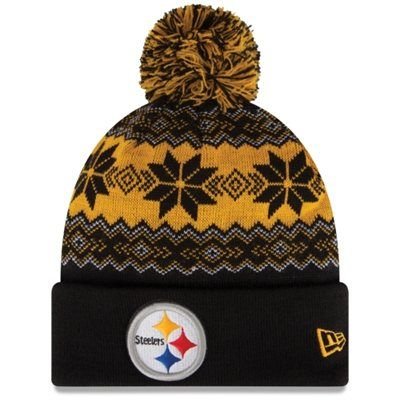 d6c8444d9e8 Men s Pittsburgh Steelers New Era Black Gold Snowburst Knit Beanie ...