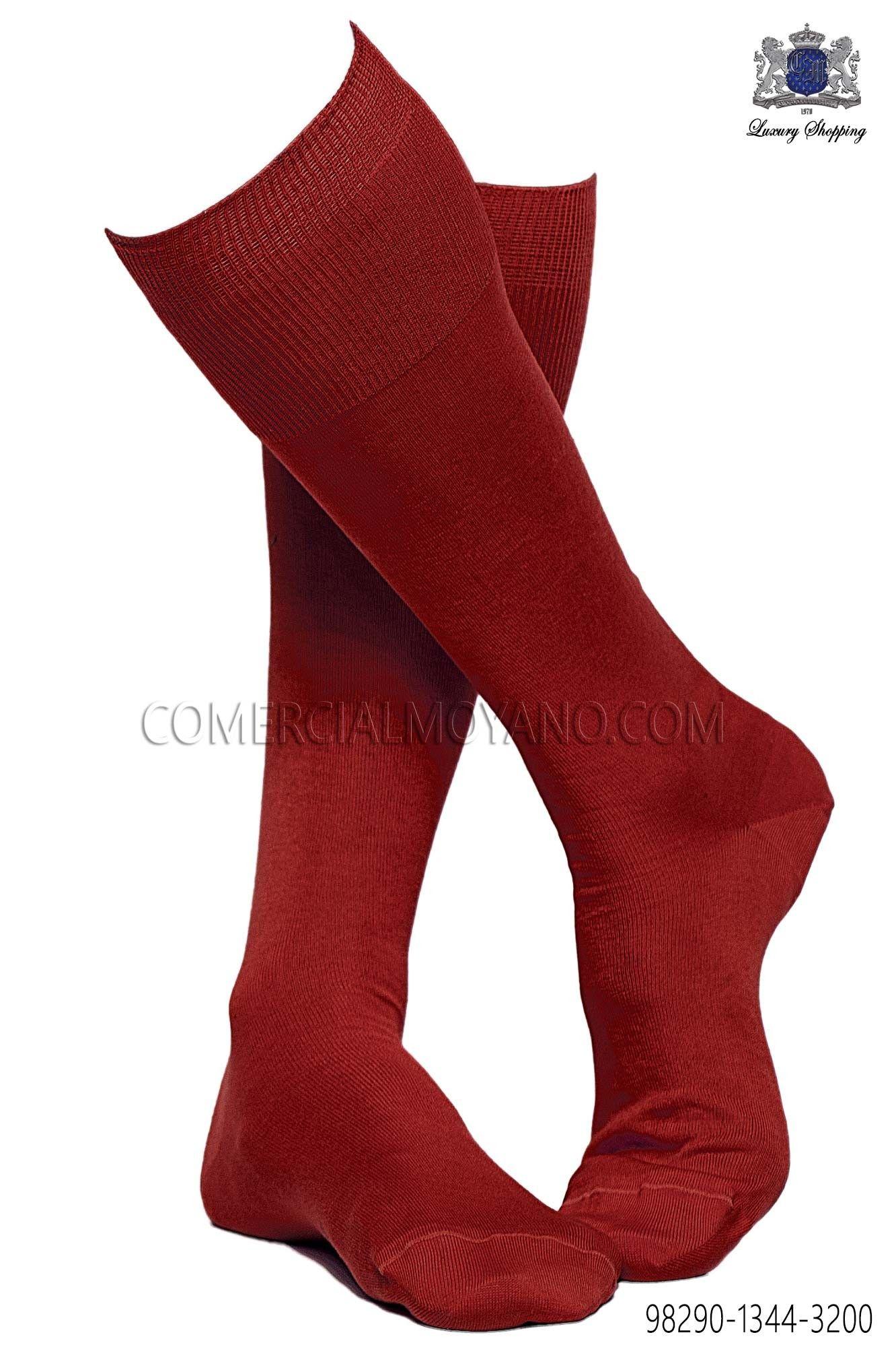 Calcetín rojo alto 100% algodón hilo de Escocia, Ottavio Nuccio Gala.