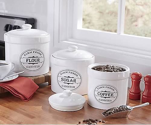 White Kitchen Jars set of 3 farm fresh canisters - white | coffee keeper | pinterest