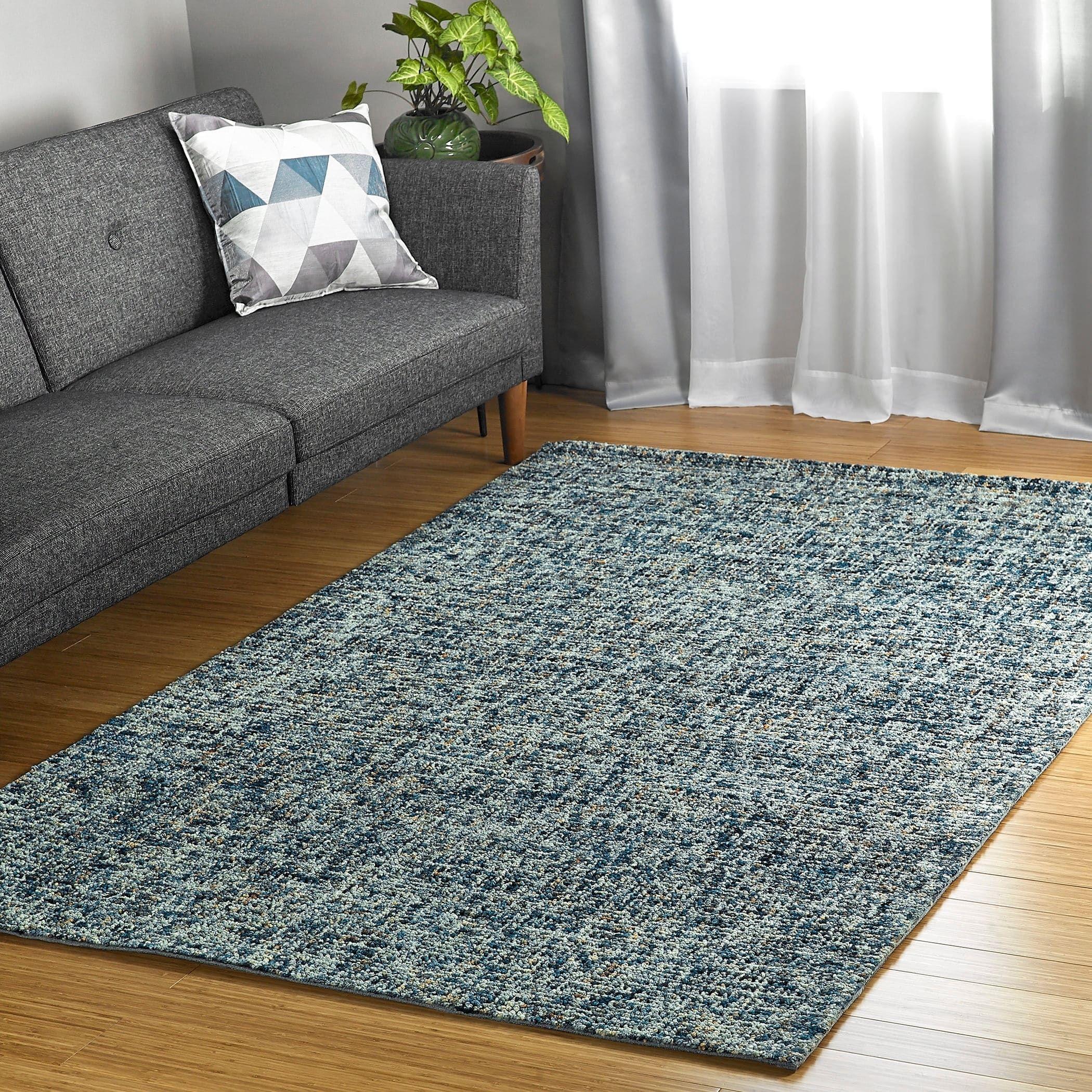 Lankford Handmade Wool Area Rug Denim 9 6 X 13 Blue
