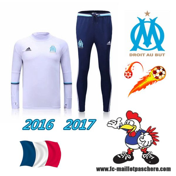 Ligue 1: Survetement Foot Marseille OM Blanc 2016 2017 - Homme Thailande Discount