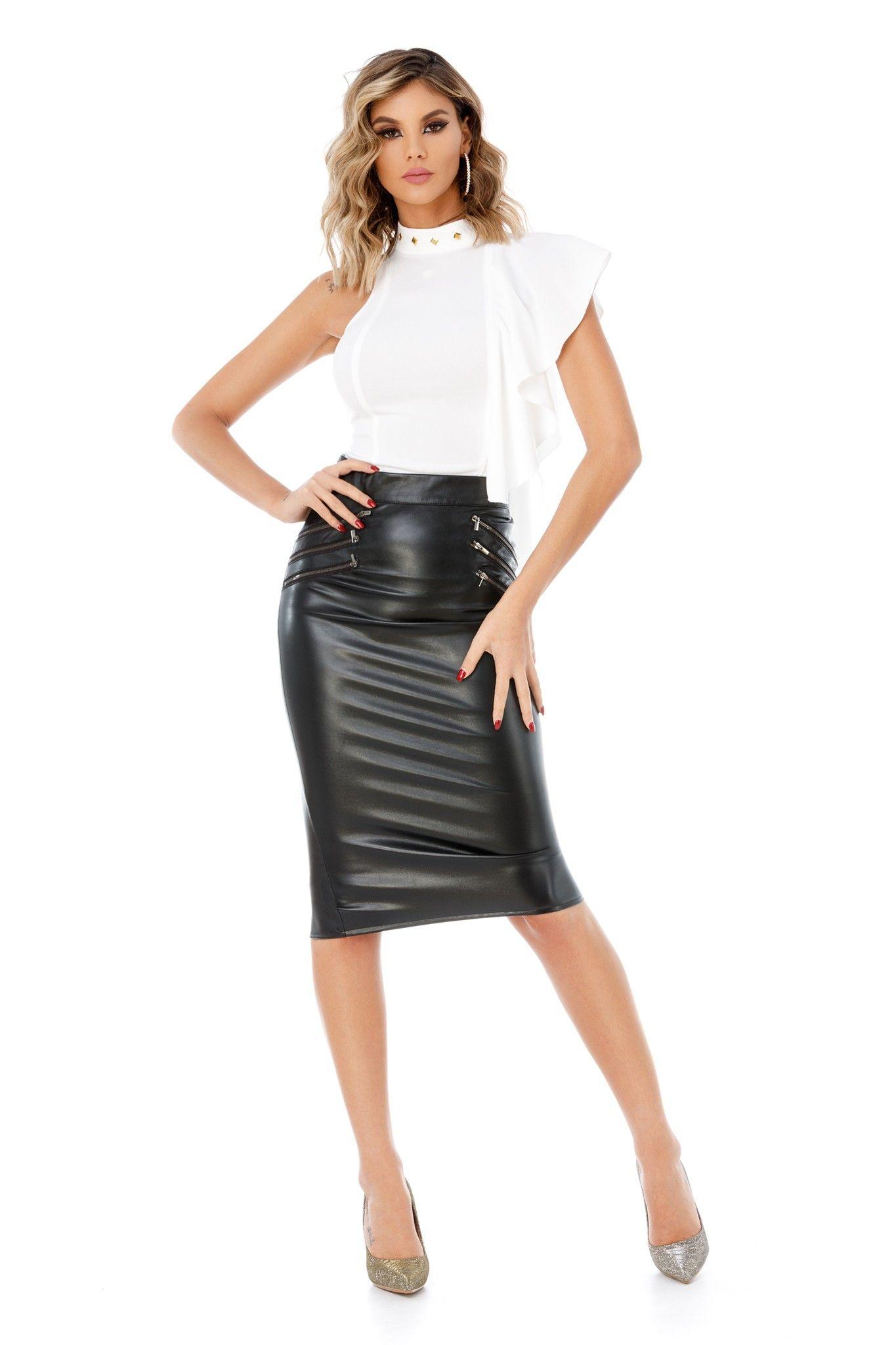 on sale e8653 2eeab Longuette di colore nero in ecopelle | Shopping online in ...