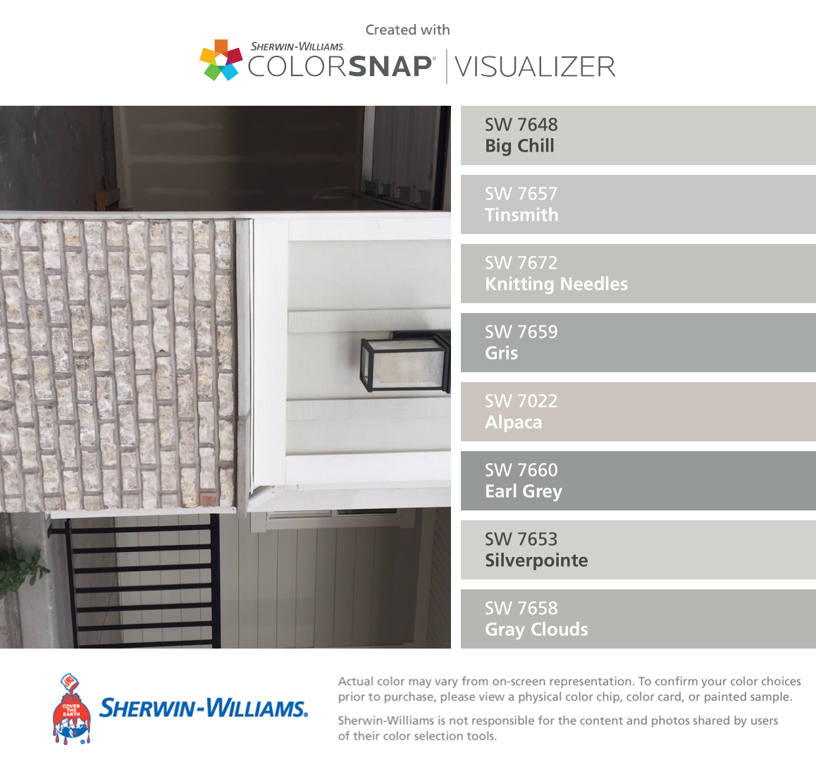 B Magnolia Bay Brick With Gray Mortar And Coordinating Colors Colorsnap Visualizer For Iphone By Sherwin Williams Chill Sw 7648