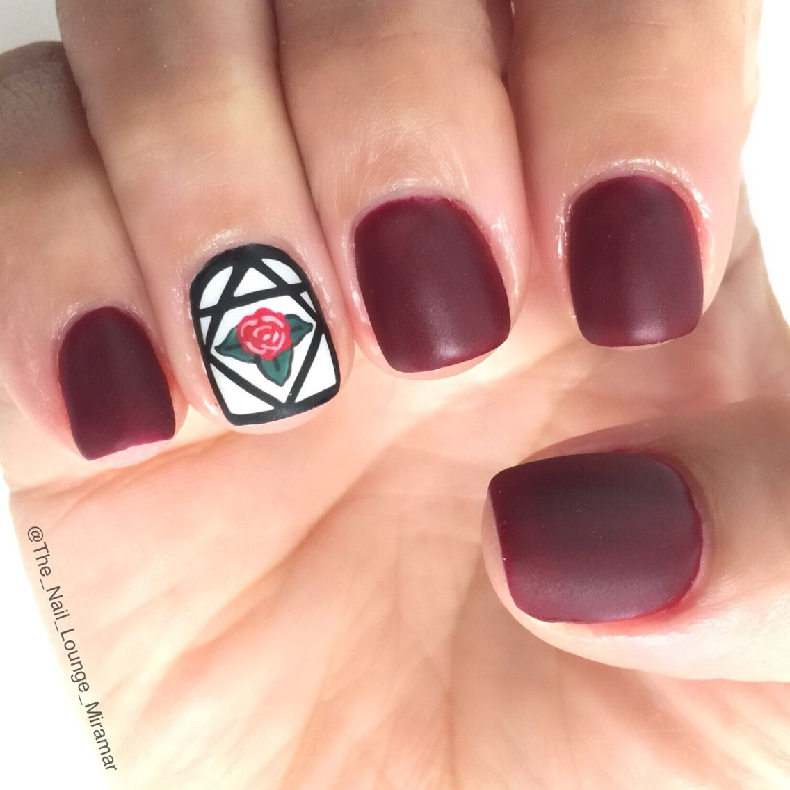 Beauty and the beast rose inspired matte nail art design | Nail Art ...
