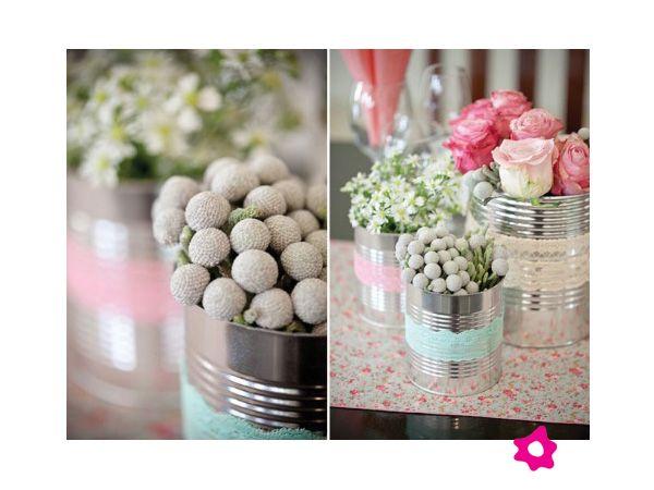Centros de mesa para boda en latas con encaje Deco Pinterest