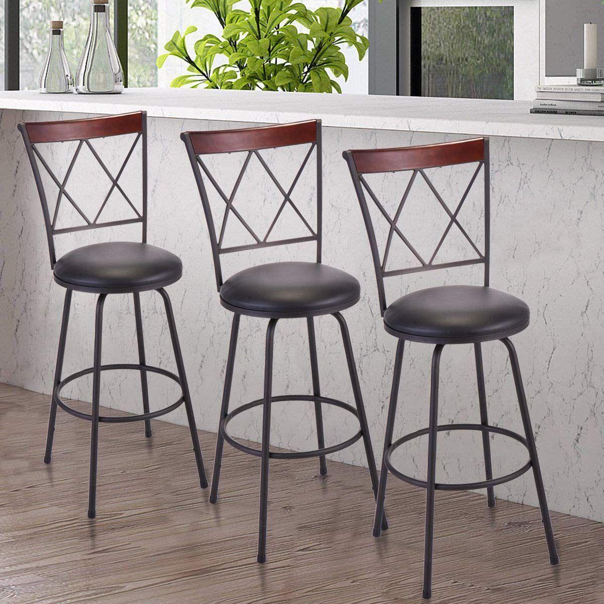 Set Of 3 Modern High Back Swivel Bar Stool Height Chair Counter Bistro Pub Chair Swivel Bar Stools Bar Stools Pub Chairs