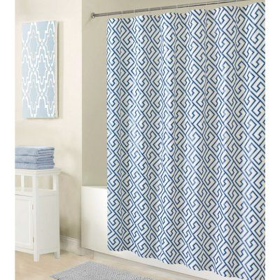 World Menagerie Herma Peva Greek Key Design Single Shower Curtain