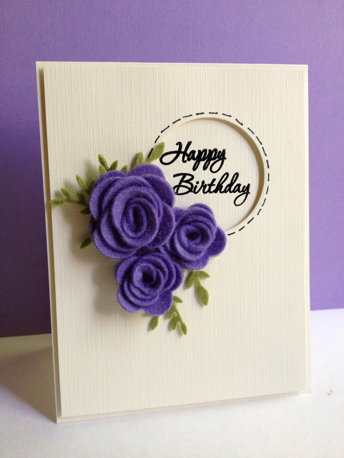 Off White And Purple Handmade Happy Birthday Cards Trendy Mods
