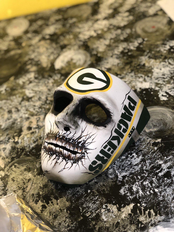 Greenbay Packers Hard Adult Skull Mask Green Bay Packers Green Bay Packers Logo Packers