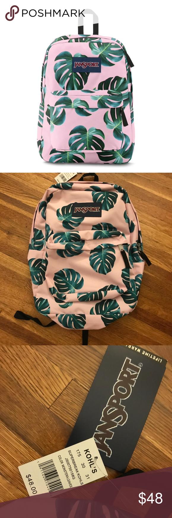 variety design best wholesaler new style Pink Monstera Leaf Backpack This Jansport Superbreak ...