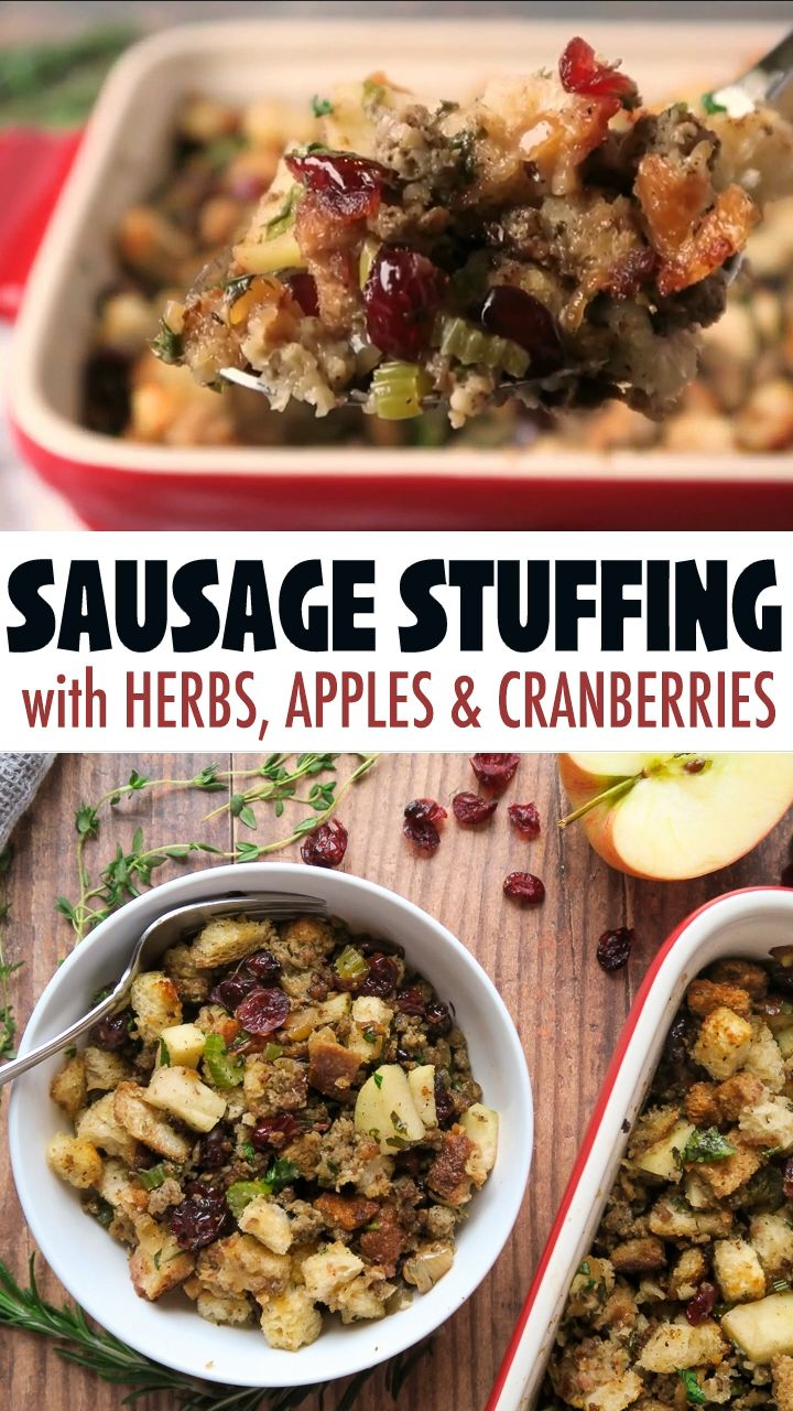 Sausage Stuffing with Apples, Cranberries and Herbs -   18 stuffing recipes easy thanksgiving ideas