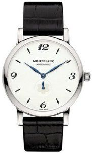 Montblanc White Dial Black Alligator Leather Mens Watch 107073