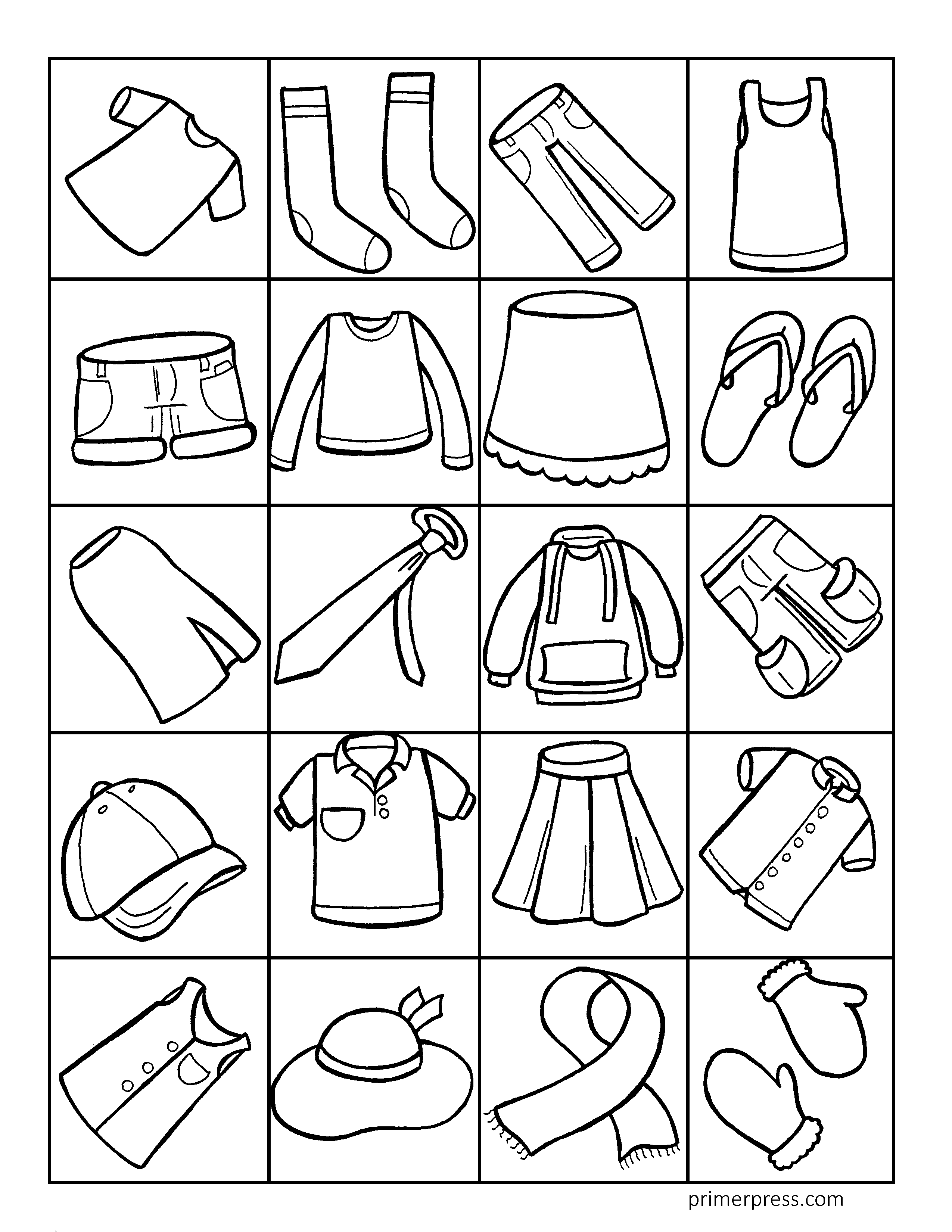 Clothing Coloring Pages 1
