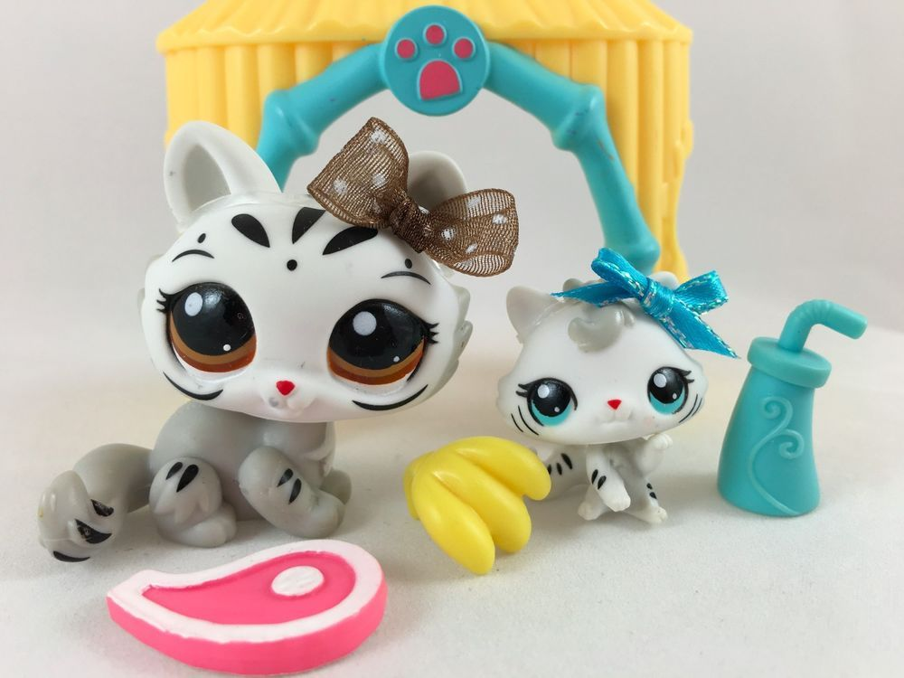Littlest pet shop rare mommy baby white tigers 3585 3586 w accessories lps sets - Petshop tigre ...