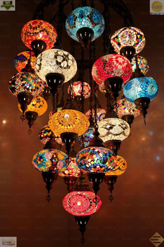 Multicolour Turkish Morrocan Mosaic Hanging Lamp Light