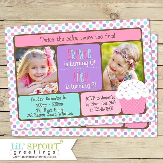 double birthday invitation pink cupcake