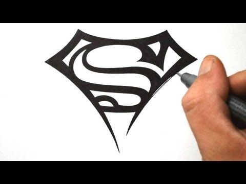 How To Draw The Superman Logo In A Tribal Tattoo Design Style You Will See First Draft Out Simple Designs To Draw Simple Tattoo Designs Tribal Tattoo Designs