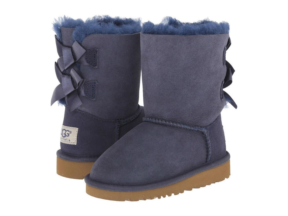 145a1580b58 UGGS Ugg Kids Girls Toddler Bailey Bow Suede Shearling Boots Booties ...