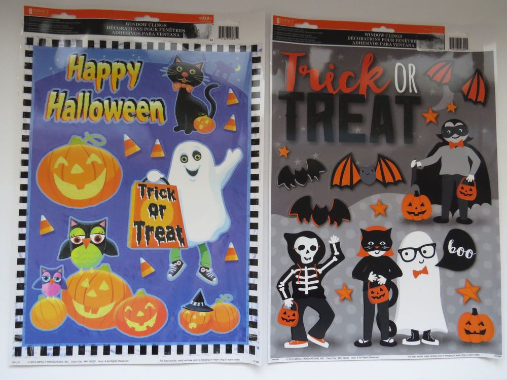 2 Sets HALLOWEEN Window Clings by Impact Pumpkins Ghosts Bats Trick - halloween window clings