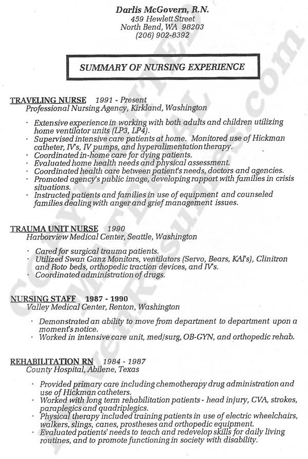 Nurse Resume Registered Nurse Resume Service