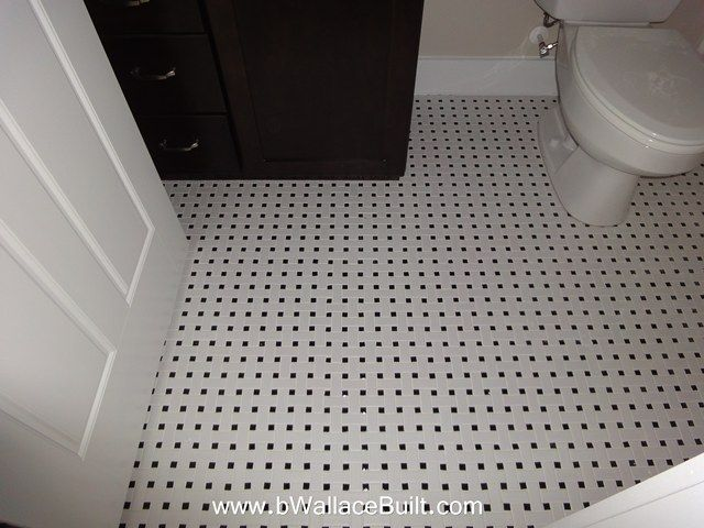 Basket Weave Mosaic White With Black White Grout Bathroom Tile From B Wallace Homes Tiles