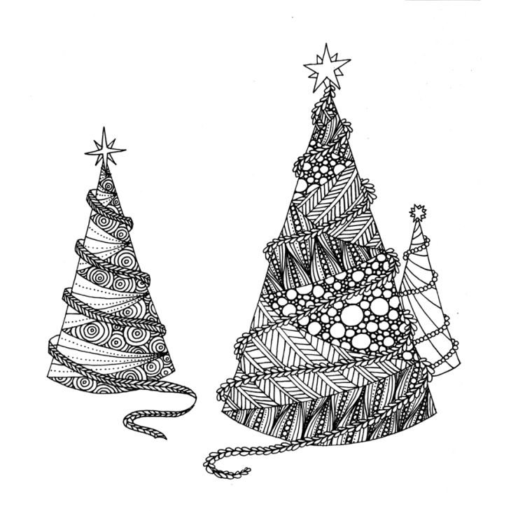 Free coloring greeting card to print at home for both children and adults - Christmas Trees - Sapins de Nowel - Carte de voeux à imprimer et colorier pour enfants et adultes gratuite