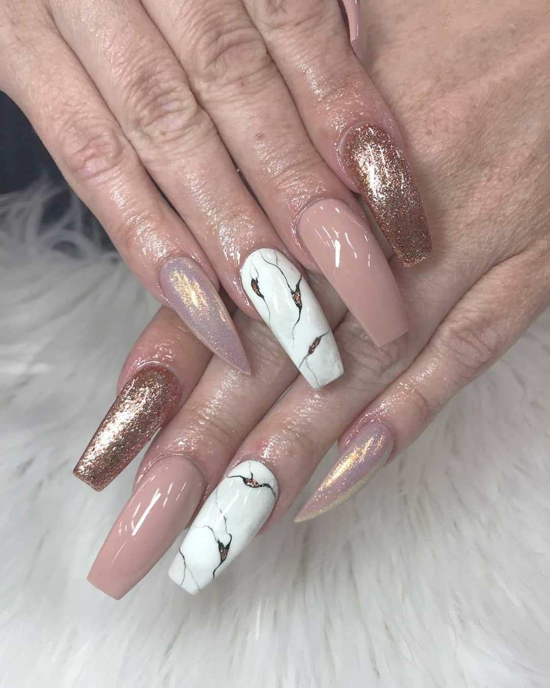 Nude and white marble mixed nails art design