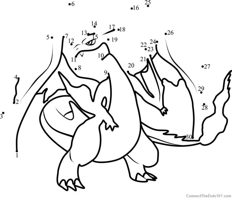 Pokemon Mega Charizard Y Dot To Dot Owl Coloring Pages Bear
