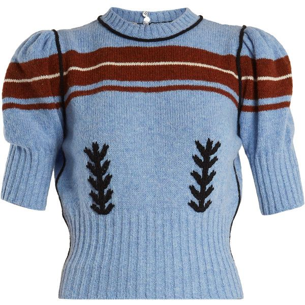 757d22fbbd20 Miu Miu Embroidered and striped-intarsia wool knit sweater ( 1