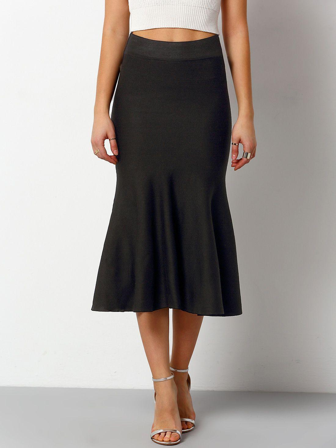 Black+Slim+Fishtail+Skirt+16.48 Fishtail skirt, Skirts