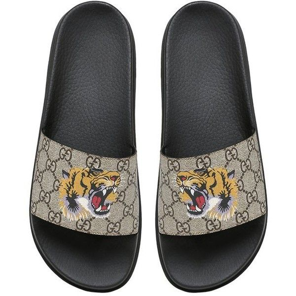 Gucci Men Tiger Print Gg Supreme Slide Sandals ($265
