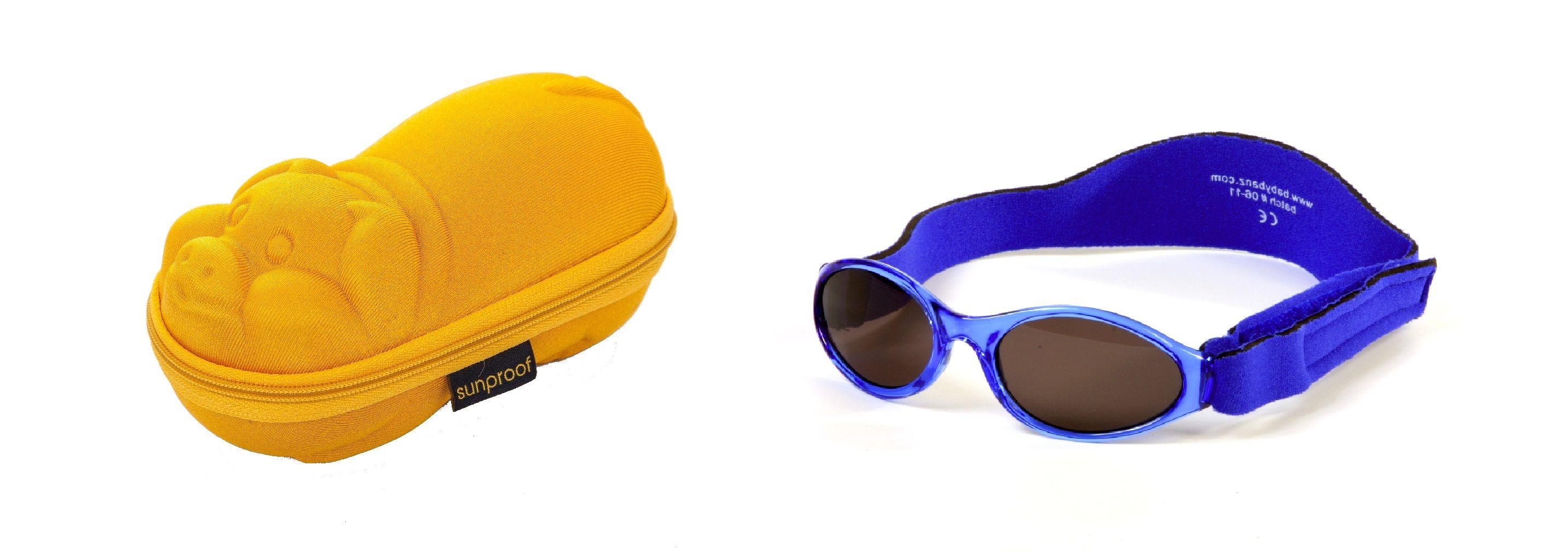 Une combinaison Lot de Babybanz Lunettes de soleil Bleu et un étui lunettes  de soleil en 4589a4d5dc5a