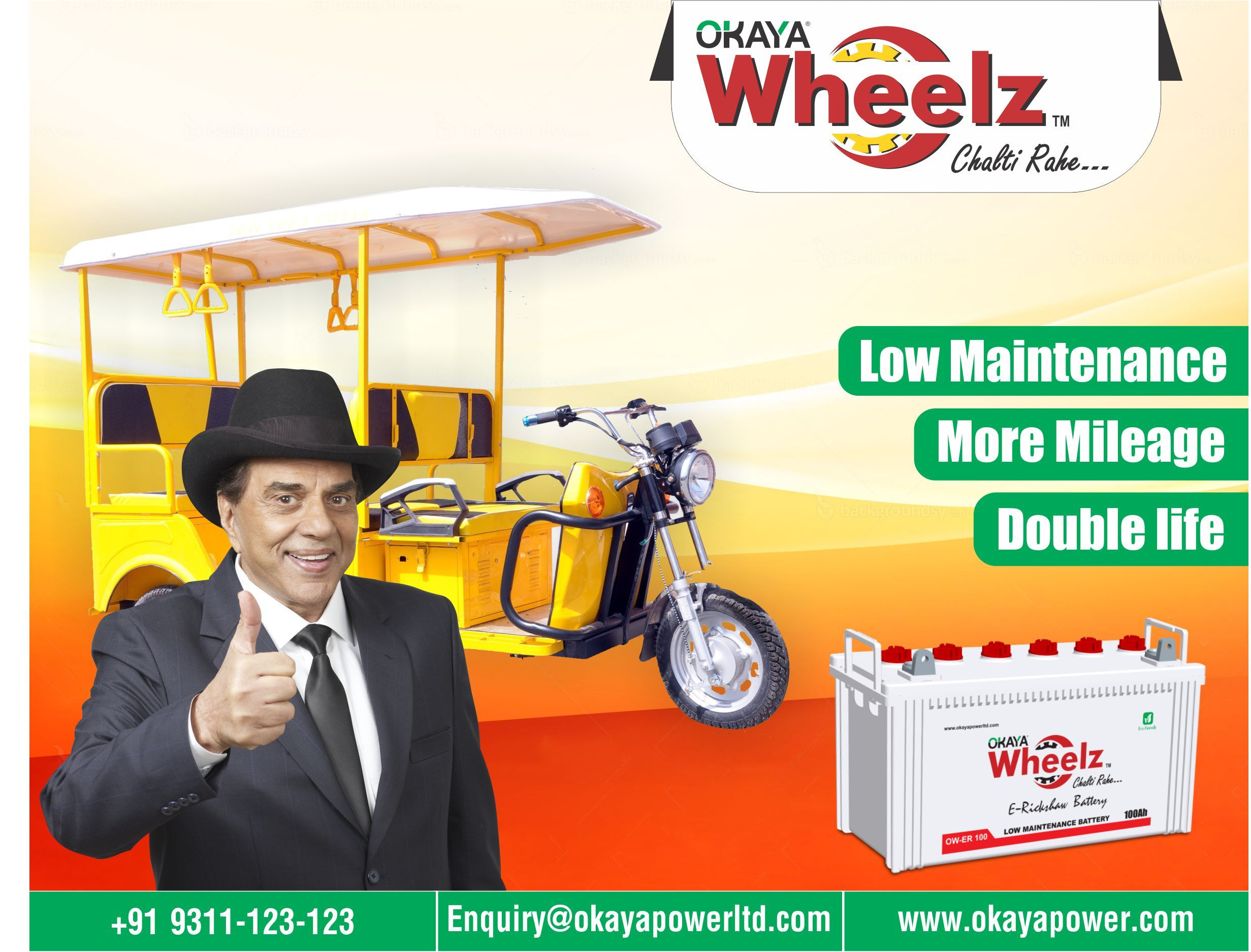 Buy Okaya Wheelz Battery for your E-Rikshaw which gives More ...
