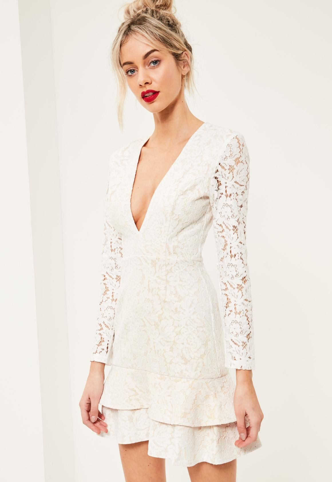 ec17f764efc3 Missguided - White Lace Plunge Long Sleeve Frill Shift Dress