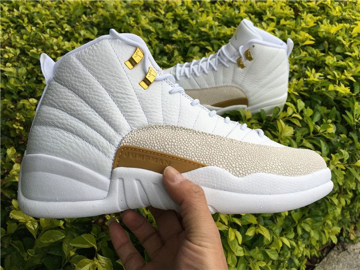 Air Jordan 12 OVO White Gold Men Basketball Shoes With Real Carbon Fiber