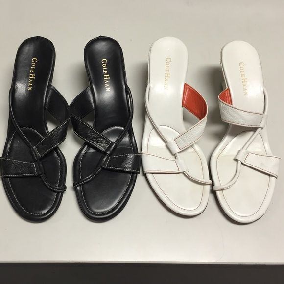 Cole Haan black and white women heels tow paired Black size 11 B , white size 10.5B  condition : used good condition. See pictures. Cole Haan Shoes Heels