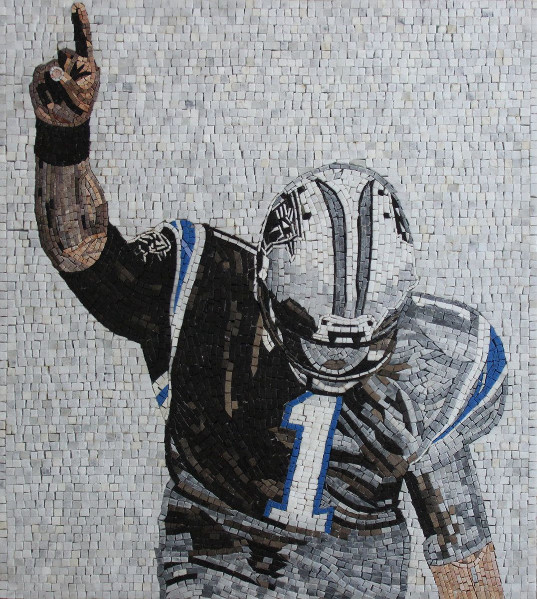 Rectangle Vertical American Football Player 28 X31 Portrait Marble Mosaic Fg1143 American Football Players American Football Football Players