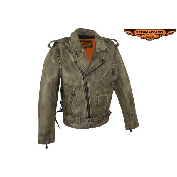 Dealer Leather Mens Distressed Brown Leather Motorcycle Jacket With Black Leather Side Laces - Fine Design Trading Company