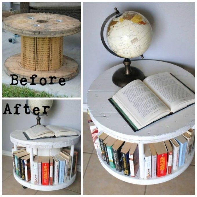 Turn a Cable Spool into a Bookshelf...awesome upcycle idea! mehr zum Selbermachen auf Interessante-dinge.de #cablespooltables