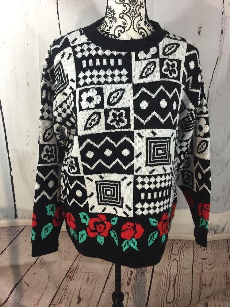 Women's Vintage 80S 90S Funky Print Sweater Heavyweight Ski Over Size Medium  | eBay