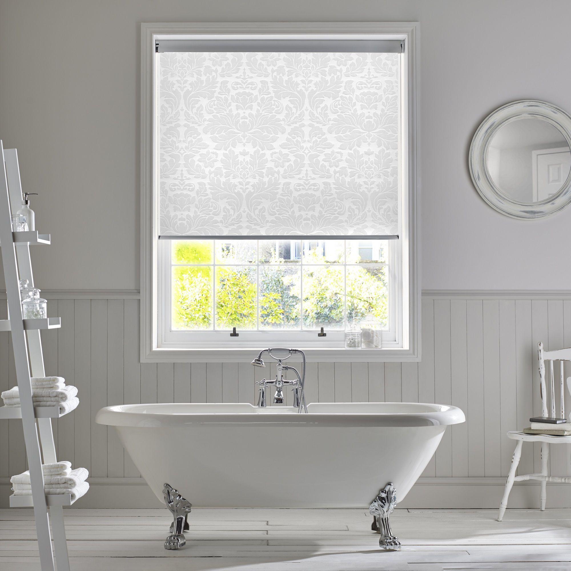 Style Studio Clara Snowdrop roller blind. White bathroom