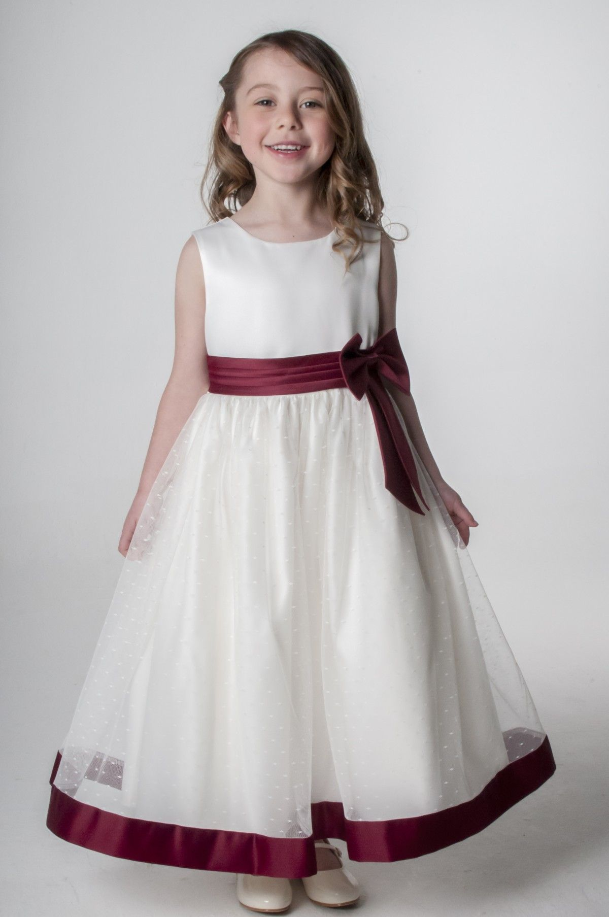 fde5d64f41e Burgundy  Wine Flower Girl Bridesmaid Sash Dress. available in other  colours