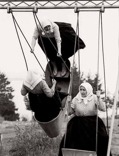 """Jirí Jíru - Swinging grannies, Slovakia, 1966 From """"Poetry of Totalitarian Regime"""", Prague"""