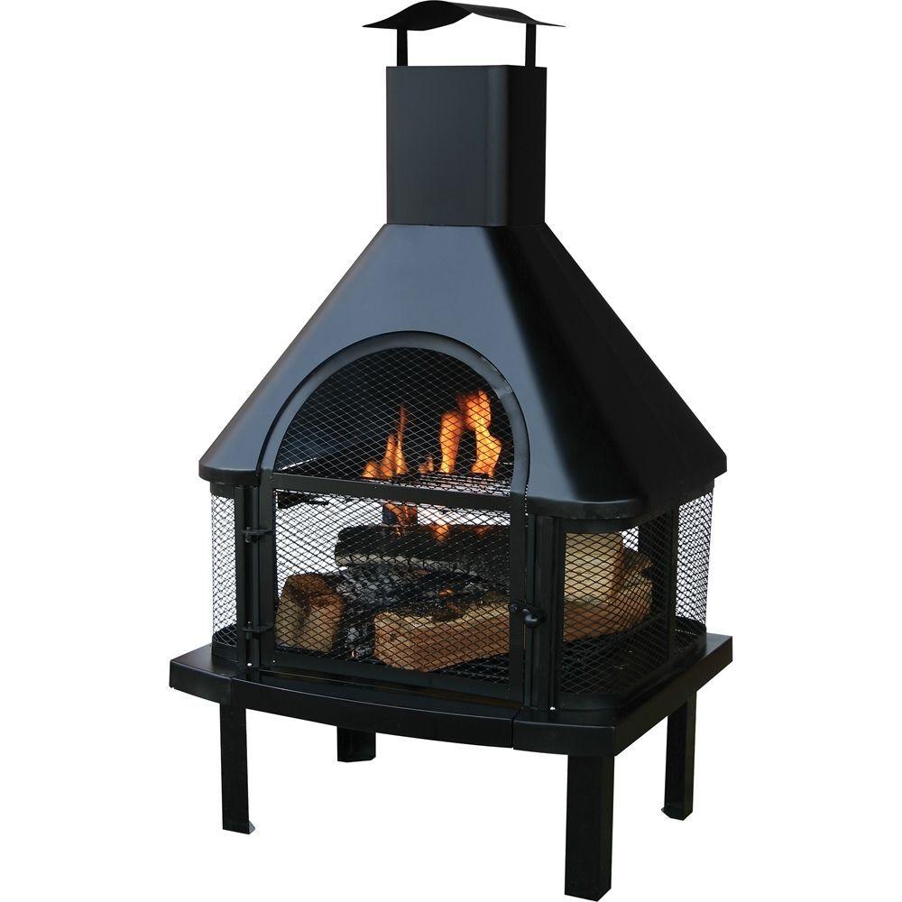 Blue Rhino Endless Summer Outdoor Wood Burning Fireplace Black