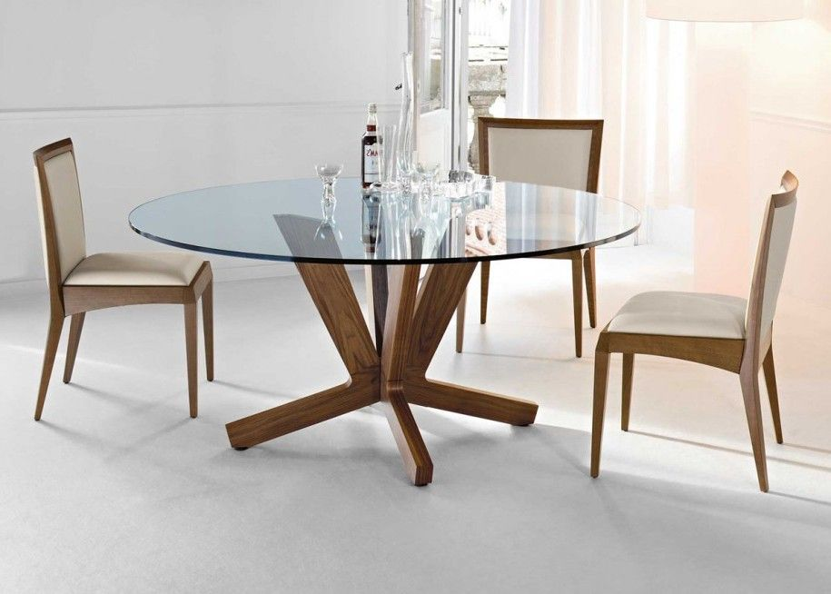 Glass Top Dining Table Placed Gorgeous Room With Grey Modern Round Wooden  Base